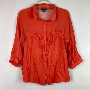 Anthropologie Lil Ruffle Button Down Top Lace 12